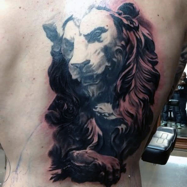 50 Löwen Zurück Tattoo Designs für Männer - Masculine Big Cat Ink Ideen