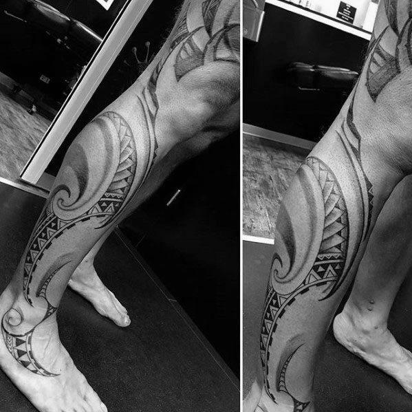 40 polynesischen Bein Tattoo Designs für Männer - Manly Tribal Ideen