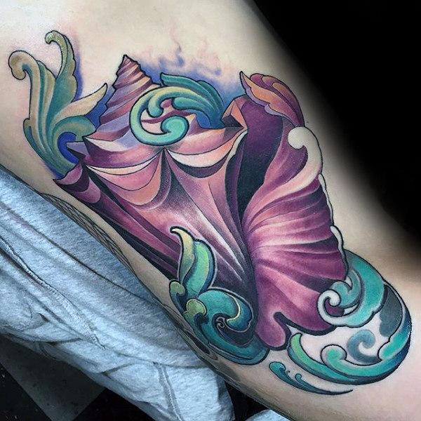 80 Seashell Tattoo Designs für Männer - Oceanic Ink Ideen
