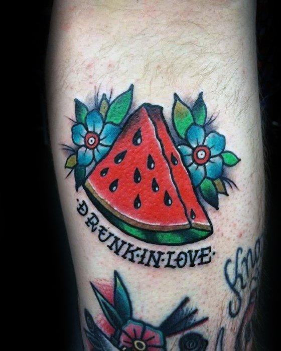 30 Wassermelone Tattoo Designs für Männer - Fruit Ink Ideen
