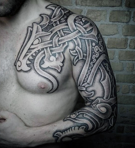 100 nordische Tattoos für Männer - mittelalterliche norwegische Designs
