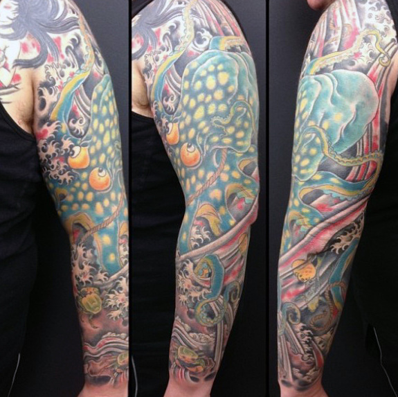 50 Octopus Sleeve Tattoo Designs für Männer - Manly Ink Ideen