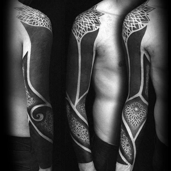 60 Blackout Tattoo Sleeve Designs für Männer - Solid Black Ink Ideen