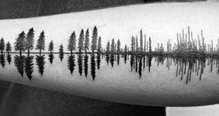50 Tree Line Tattoo Design-Ideen für Männer - Timberline Ink