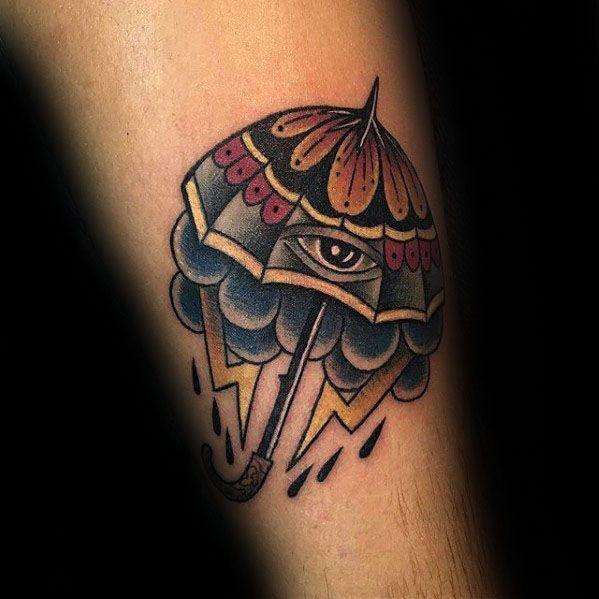60 Umbrella Tattoo Designs für Männer - Schutzfarbe Ideen