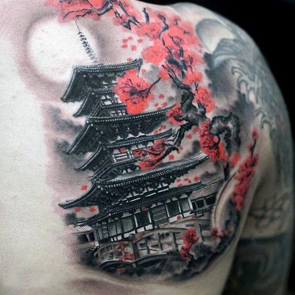 50 japanische Tempel Tattoo Designs für Männer - buddhistische Tinte Ideen