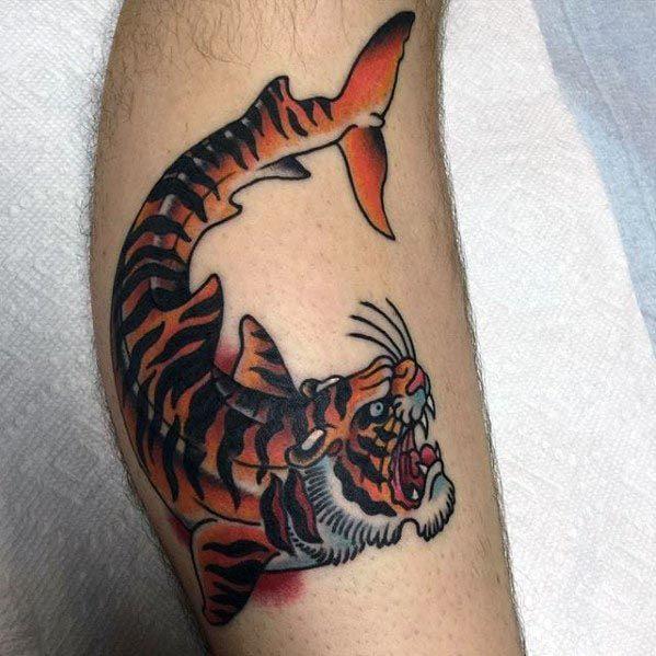 50 Tiger Shark Tattoo Designs für Männer - Sea Tiger Ink Ideen