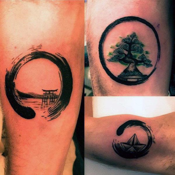 60 Enso Tattoo Designs für Männer - Zen japanische Tinte Ideen