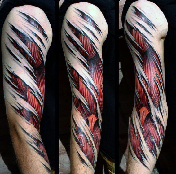 70 Muscle Tattoo Designs für Männer - Exposed Fiber Ink Ideen
