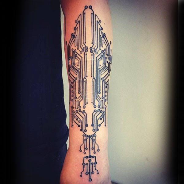 60 Circuit Board Tattoo Designs für Männer - Elektronische Tinte Ideen