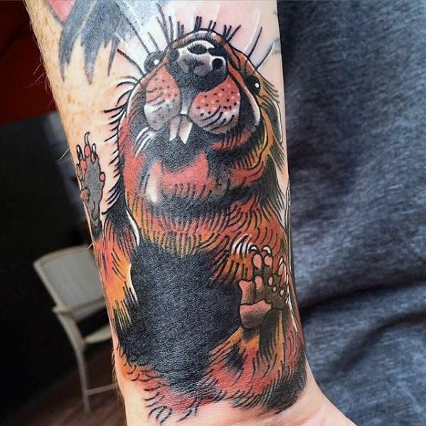 40 Biber Tattoo Designs für Männer - Semi Aquatic Nagetier Tinte Ideen