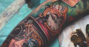 75 Steampunk Tattoo-Designs für Männer - Maskuline Maschinen