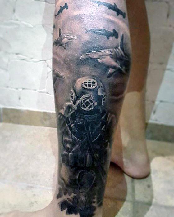 30 Shark Tattoo Sleeve Designs für Männer - Marine Life Ink Ideen
