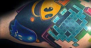 30 Pacman Tattoo Designs für Männer - Arcade-Spiel Tinte Ideen