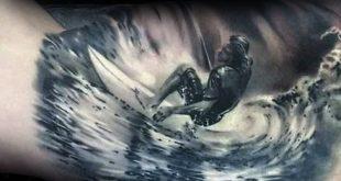 90 Surf Tattoos für Männer - Oceanic Design-Ideen