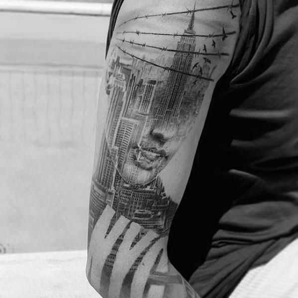 60 Doppelbelichtungs-Tätowierungs-Entwürfe für Männer - photographische Tinten-Ideen