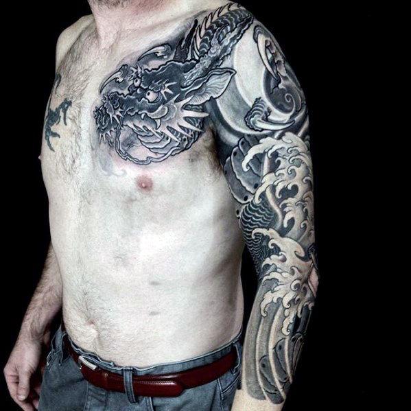 30 Dragon Half Sleeve Tattoos für Männer - Feuer speienden Design-Ideen