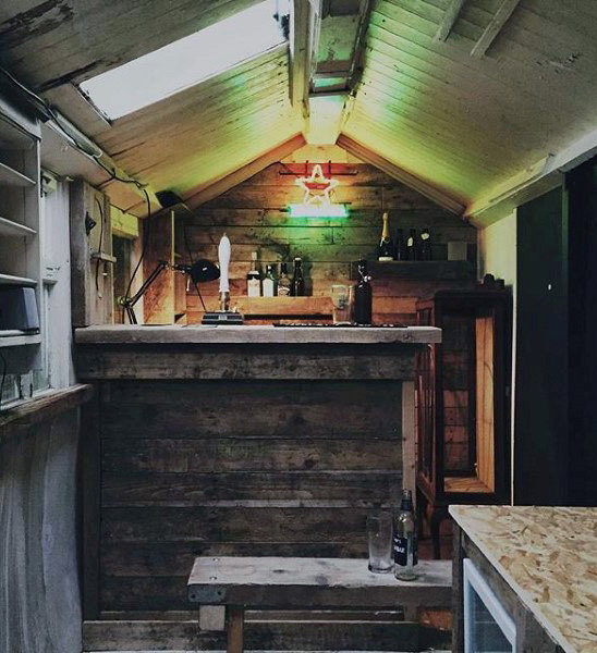 50 Pub Shed Bar Ideen für Männer - Cool Backyard Retreat Designs