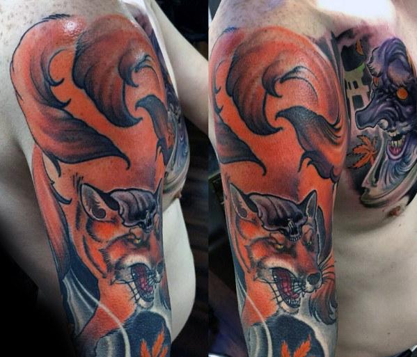 80 Kitsune Tattoo Designs für Männer - japanische Fox Ink Ideen