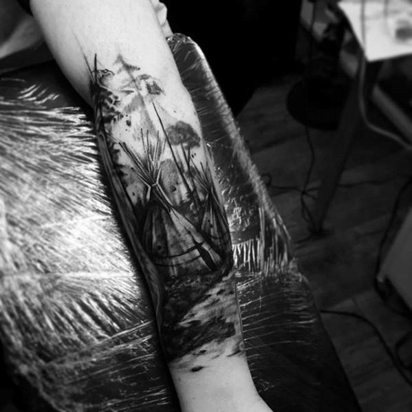 40 Tipi Tattoo Designs für Männer - Tipi Tent Ink Ideen