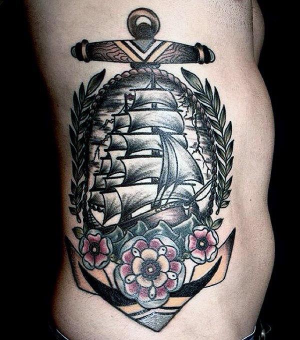 70 traditionelle Anker Tattoo Designs für Männer - Vintage Ideen