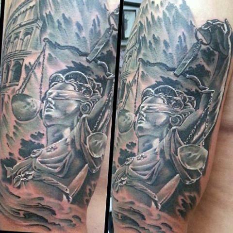 40 Lady Justice Tattoo Designs für Männer - Unparteiische Skala Tinte Ideen