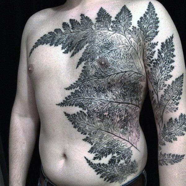 60 Farn Tattoo Designs für Männer - Blatt-Tinten-Ideen