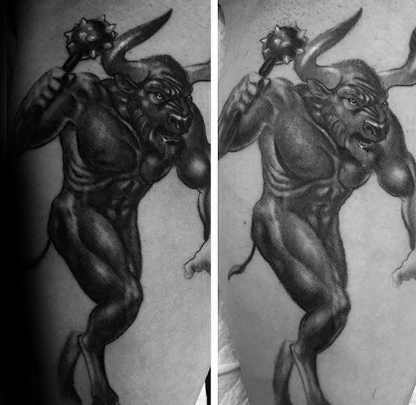 40 Minotaur Tattoo Designs für Männer - griechische Mythologie Ideen