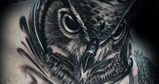 30 Eule Hals Tattoo Designs für Männer - Vogel Tinte Ideen