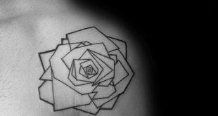 40 geometrische Rose Tattoo Designs für Männer - Blumen-Tinte-Ideen