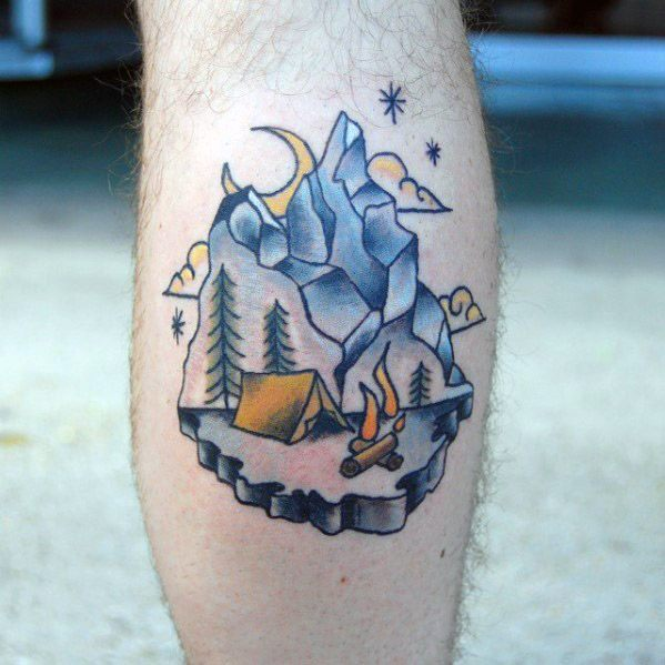 60 Camping Tattoos für Männer - Wildnis Design-Ideen