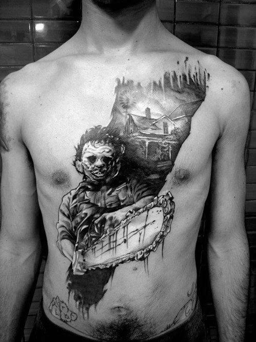 40 Chainsaw Tattoo Designs für Männer - mechanische Saw Ink Ideen