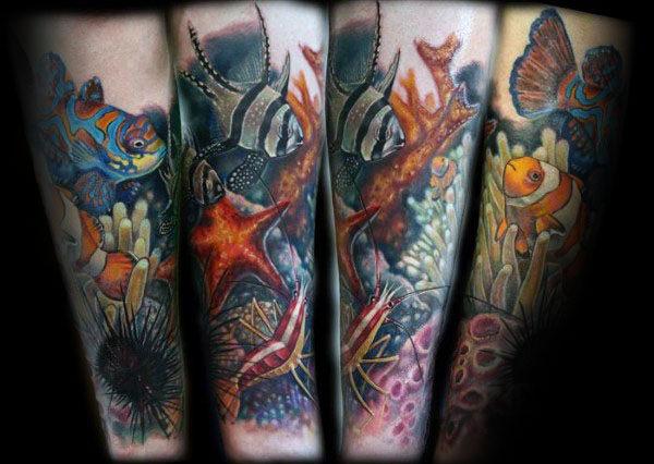 50 Korallenriff Tattoo-Designs für Männer - Aquatic Ink Mastery