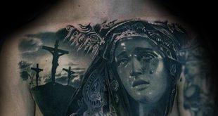 100 Jungfrau Maria Tattoos für Männer - religiöse Design-Ideen