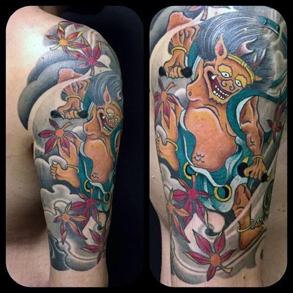 60 Raijin Tattoo Designs für Männer - japanische Mythologie-Tinten-Ideen