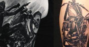 60 Motorrad Tattoos für Männer - Zwei Rad Design-Ideen