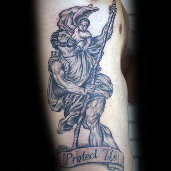 40 St Christopher Tattoo Designs für Männer - Manly Ink Ideen