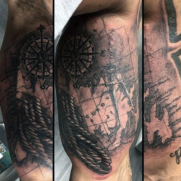 100 nautische Tattoos für Männer - Slick Seefahrt Design-Ideen
