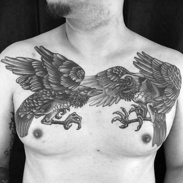 60 Odins Ravens Tattoo Designs für Männer - Huginn und Muninn Ideen