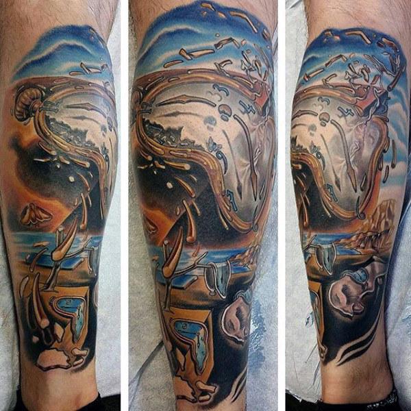 40 schmelzende Uhr Tattoo-Designs für Männer - Salvador Dali Ink Ideas