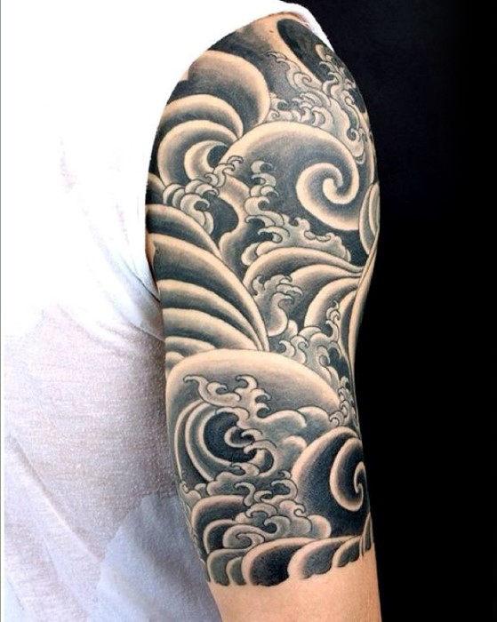 60 japanische Welle Tattoo Designs für Männer - Oceanic Ink Ideen