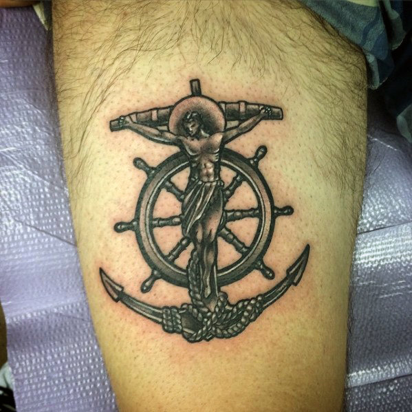 40 Anker Kreuz Tattoo Designs für Männer - religiöse Tinte Ideen