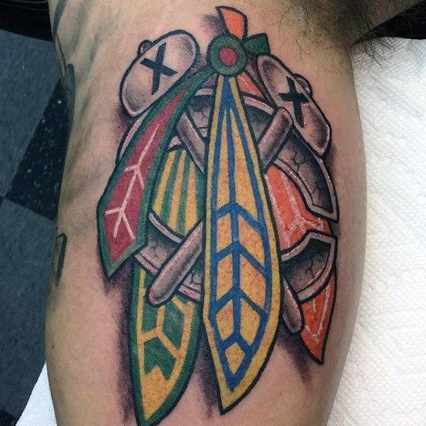 40 Chicago Blackhawks Tattoo-Designs für Männer - Hockey-Tinte-Ideen