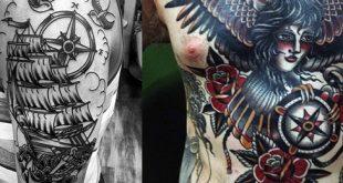 40 traditionelle Kompass Tattoo Designs für Männer - Old School-Ideen