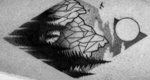 50 geometrische Berg Tattoo Designs für Männer - Geometrie-Tinte Ideen