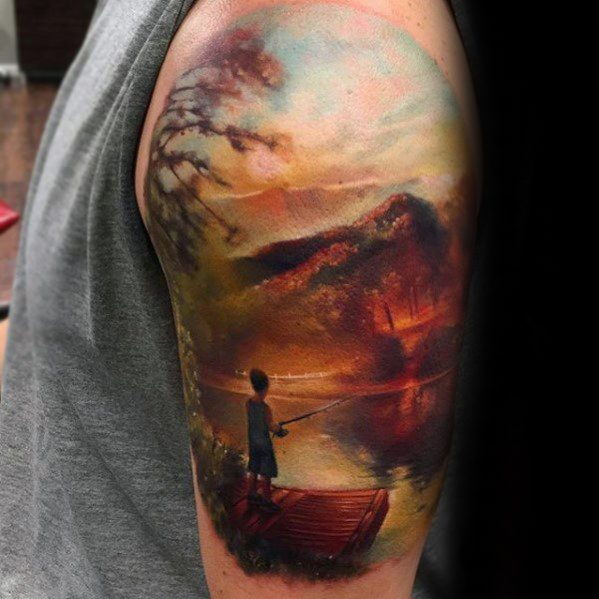 40 Lake Tattoo Designs für Männer - Nature Ink Ideen
