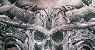 50 Schädel Brust Tattoo Designs für Männer - Eindringliche Tinte Ideen