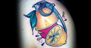 50 Zitrone Tattoo Designs für Männer - Citrus Fruit Ink Ideen
