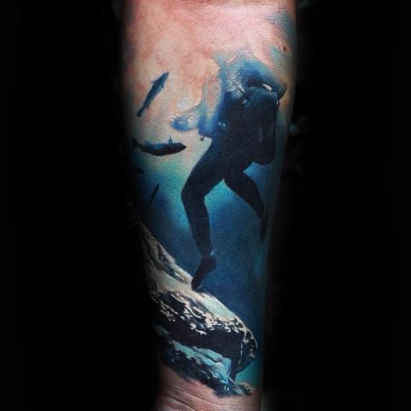 40 Tauchen Tattoo Designs für Männer - Diver Ink Ideas