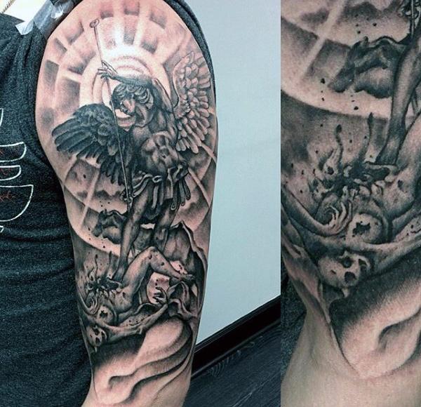 75 bemerkenswerte Engel Tattoos für Männer - Tinte Ideen, die Ihnen Flügel geben